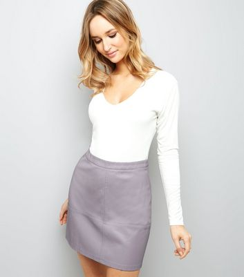 Lilac Leather-Look Mini Skirt