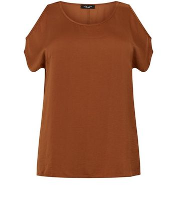 Brown Sateen Fine Knit T-Shirt