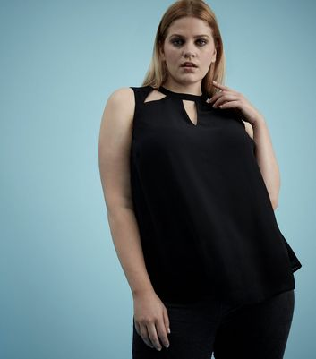 Curves Black Cut Out Sleeveless Top