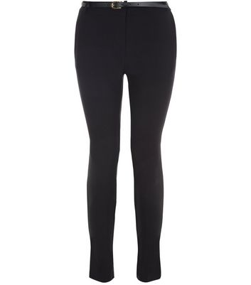 Teens Black Belted Bengaline Trousers