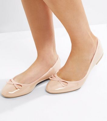 Wide Fit Nude Pink Patent Ballet Pumps