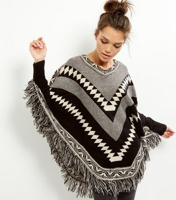 Mela Black V Neck Abstract Print Tassel Hem Poncho