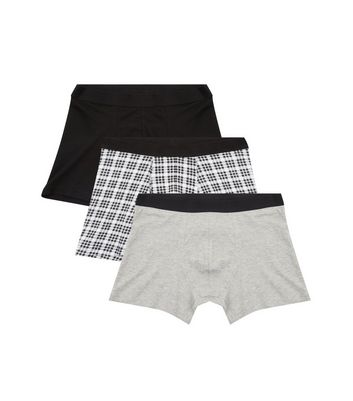 3 Pack Black Check Print Boxer Briefs