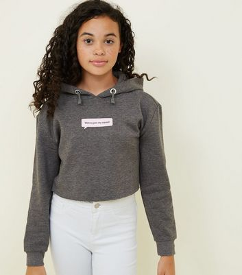 Girls Grey Squad Slogan Cropped Hoodie