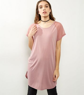 JDY Pink Mesh Short Sleeve Top