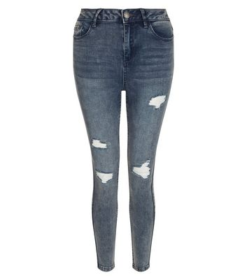 Teens Blue High Waist Ripped Skinny Jeans