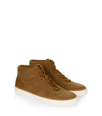 Tan Suedette Hi Top Trainers