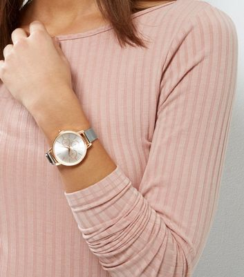 Rose Gold Contrast Mesh Strap Watch