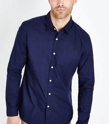 Navy Washed Cotton Long Sleeve Shirt