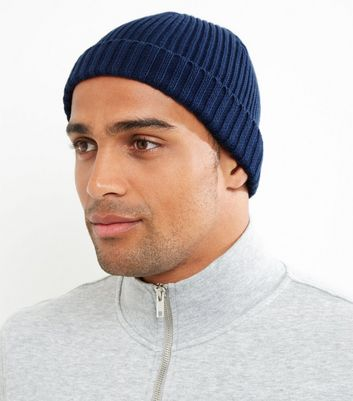Blue Ribbed Cotton Beanie Hat