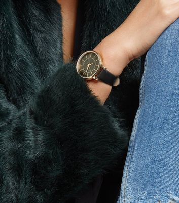 Black Diamanté Dial Watch