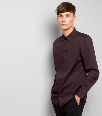 Burgundy Cotton Long Sleeve Shirt