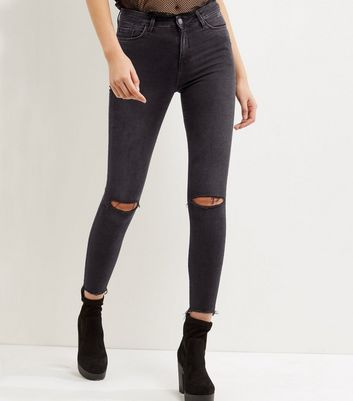 Black Ripped Knee Fray Hem Shaper Skinny Jeans