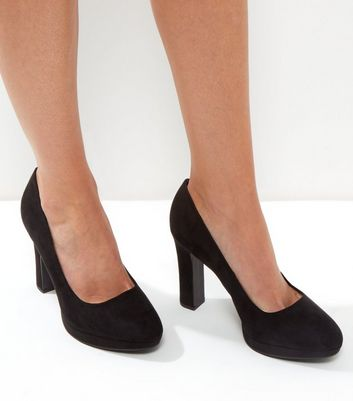 Wide Fit Black Suedette Platform Court Shoes