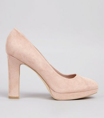 Wide Fit Pink Suedette Court Shoes