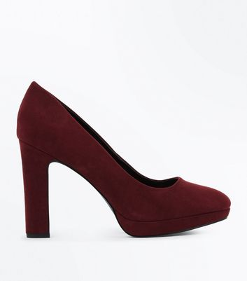 Wide Fit Burgundy Suedette Court Shoes