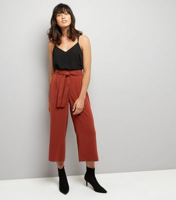Brown Tie Waist Cropped Trousers