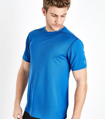 Bright Blue Mesh Short Sleeve Sports T-Shirt