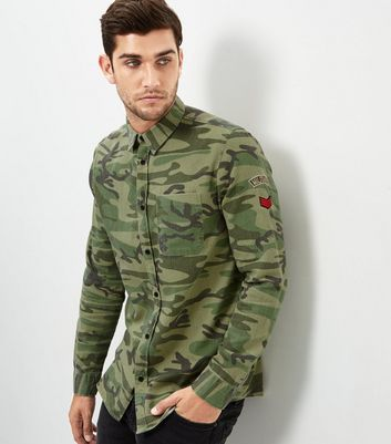 Khaki Camo Embroidered Badge Shirt