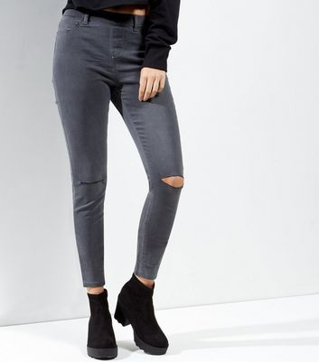 Grey Ripped Knee Emilee Jeggings
