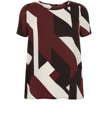 Curves Red Geo Print T-Shirt