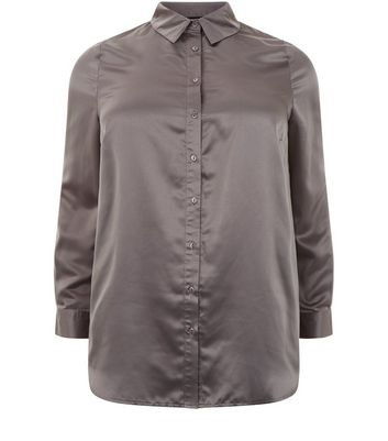 Curves Grey Sateen Floral Embroidered Shirt