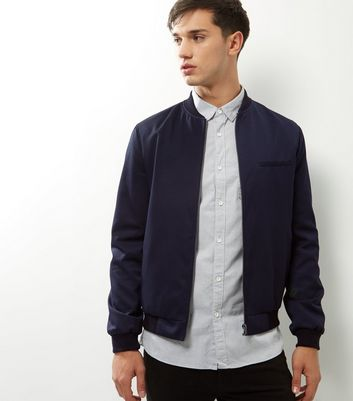 Navy Single Pocket Tailored Bomber Jacket