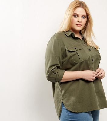 Curves Khaki Cotton Shacket