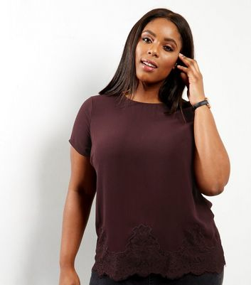 Curves Dark Purple Lace Hem T-shirt