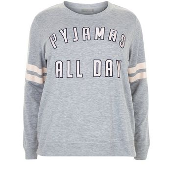 Curves Grey Pyjamas All Day Pyjama Sweater