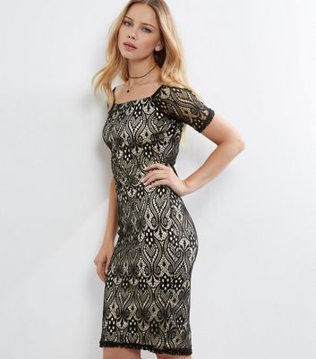 AX Paris Black Lace Bardot Neck Dress