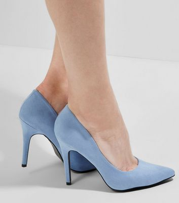 Light Blue Suedette Pointed Court Shoes