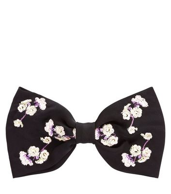 Black Embroidered Bow Hair Clip