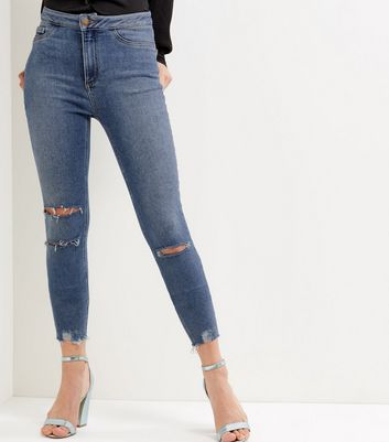 Blue Ripped Knee Super High Waisted Super Skinny Jeans