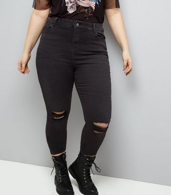Curves Black Ripped Knee Skinny Jeans