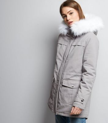 Pale Grey Faux Fur Trim Drawstring Waist Parka
