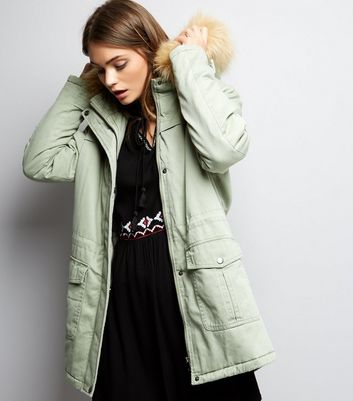 Green Faux Fur Trim Drawstring Waist Parka