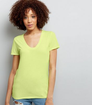 Yellow Scoop Neck Short Sleeve T-Shirt