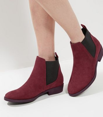Burgundy Suedette Chelsea Boots