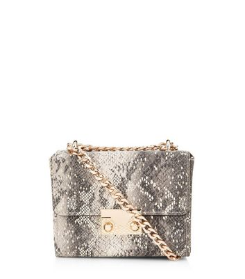 Grey Snake Skin Micro Box Clutch