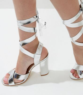 Wide Fit Silver Tie Up Block Heeled Sandals