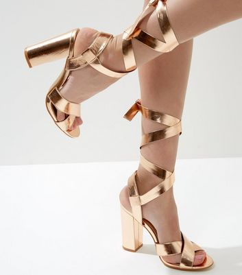 Wide Fit Rose Gold Tie Up Block Heeled Sandals