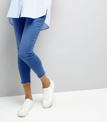 Maternity Blue Raw Hem Over Bump Jeans