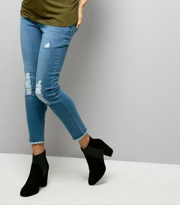 Maternity Blue Ripped Knee Under Bump Jeans