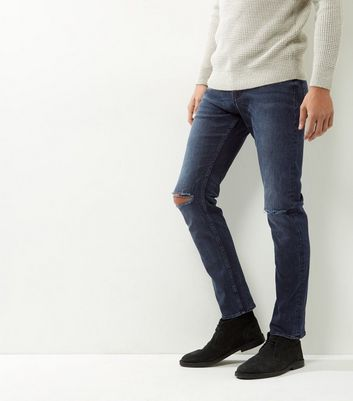 Blue Ripped Knee Stretch Slim Leg Jeans
