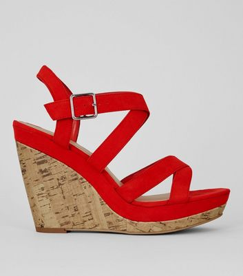 Red Suedette Cross Strap Wedges