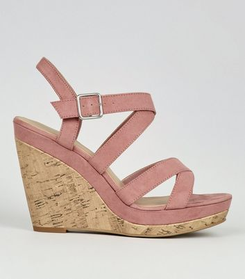 Pink Suedette Cross Strap Wedges