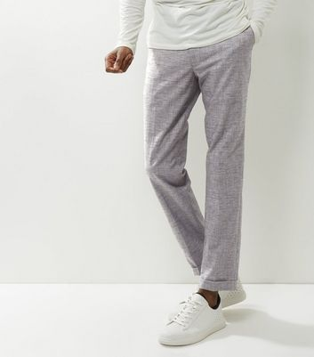 Grey Cropped Turn Up Hem Trousers