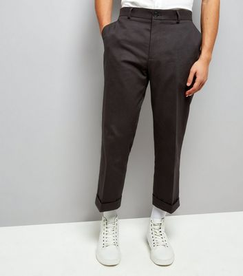 Black Cropped Turn Up Trousers