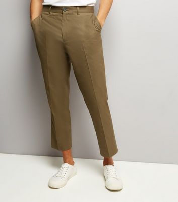 Olive Green Cropped Cotton Slim Leg Trousers